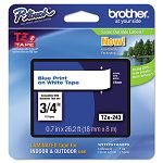 "TZe Standard Adhesive Laminated Labeling Tape 34""w Blue on White (BRTTZE243)"
