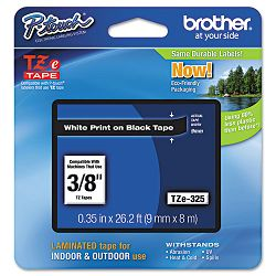 "TZe Standard Adhesive Laminated Labeling Tape 38""w White on Black (BRTTZE325)"