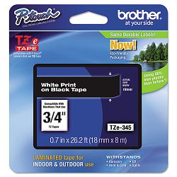 "TZe Standard Adhesive Laminated Labeling Tape 34""w White on Black (BRTTZE345)"