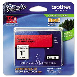 "TZe Standard Adhesive Laminated Labeling Tape 1""w Black on Red (BRTTZE451)"