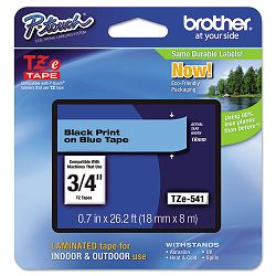 "TZe Standard Adhesive Laminated Labeling Tape 34""w Black on Blue (BRTTZE541)"