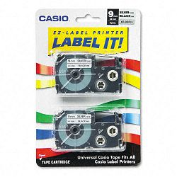 Tape Cassettes for KL Label Makers 9mm x 26ft Black on Silver Pack of 2 (CSOXR9SR2S)