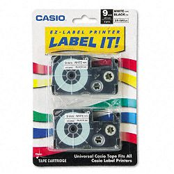 Tape Cassettes for KL Label Makers 9mm x 26ft Black on White Pack of 2 (CSOXR9WE2S)