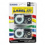 Tape Cassettes for KL Label Makers 18mm x 26ft Black on White Pack of 2 (CSOXR18WE2S)