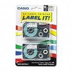 Tape Cassettes for KL Label Makers 18mm x 26ft Black on Clear Pack of 2 (CSOXR18X2S)