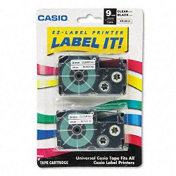 Tape Cassettes for KL Label Makers 9mm x 26ft Black on Clear Pack of 2 (CSOXR9X2S)