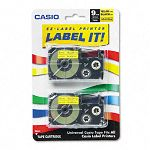 Tape Cassettes for KL Label Makers 9mm x 26ft Black on Yellow Pack of 2 (CSOXR9YW2S)