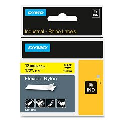 "Rhino Flexible Nylon Industrial Label Tape Cassette 12"" x 11-12 ft Yellow (DYM18490)"