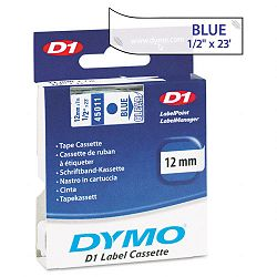 D1 Standard Tape Cartridge for Dymo Label Makers 12in x 23ft Blue on Clear (DYM45011)