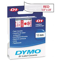 D1 Standard Tape Cartridge for Dymo Label Makers 12in x 23ft Red on Clear (DYM45012)