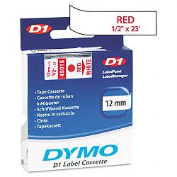 D1 Standard Tape Cartridge for Dymo Label Makers 12in x 23ft Red on White (DYM45015)