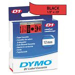 D1 Standard Tape Cartridge for Dymo Label Makers 12in x 23ft Black on Red (DYM45017)