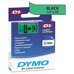D1 Standard Tape Cartridge for Dymo Label Makers 12in x 23ft Black on Green (DYM45019)