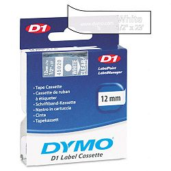 D1 Standard Tape Cartridge for Dymo Label Makers 12in x 23ft White on Clear (DYM45020)