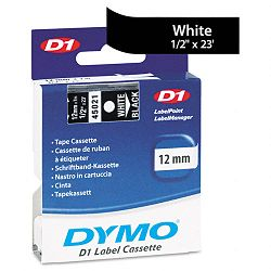 D1 Standard Tape Cartridge for Dymo Label Makers 12in x 23ft White on Black (DYM45021)