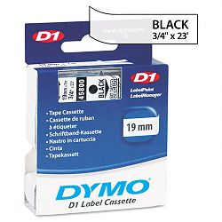 D1 Standard Tape Cartridge for Dymo Label Makers 34in x 23ft Black on Clear (DYM45800)