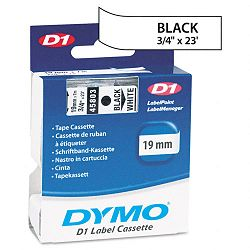 D1 Standard Tape Cartridge for Dymo Label Makers 34in x 23ft Black on White (DYM45803)