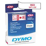 D1 Standard Tape Cartridge for Dymo Label Makers 34in x 23ft Red on White (DYM45805)
