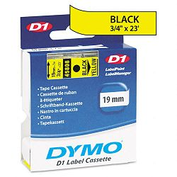 D1 Standard Tape Cartridge for Dymo Label Makers 34in x 23ft Black on Yellow (DYM45808)