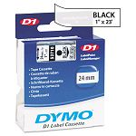 D1 Standard Tape Cartridge for Dymo Label Makers 1in x 23ft Black on Clear (DYM53710)