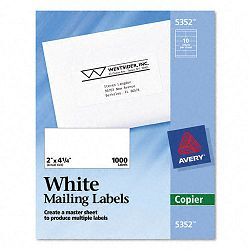 Self-Adhesive Shipping Labels for Copiers 2 x 4-14 White Box of 1000 (AVE5352)