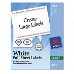 "Self-Adhesive Full-Sheet Shipping Labels for Copiers 8-12"" x 11"" White Box of 100 (AVE5353)"