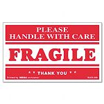 """Fragile Handle with Care"" Self-Adhesive Shipping Labels 3"" x 5"" Roll of 500 (UNV308383)"