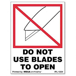 """Do Not Use Blades to Open"" Self-Adhesive Shipping Labels 3"" x 4"" Roll of 500 (UNV480323)"