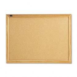 "Cork Bulletin Board Cork Over Fiberboard 24"" x 18"" Natural Oak Frame (QRT301)"