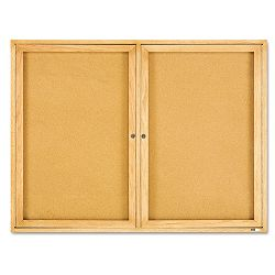 "Enclosed Bulletin Board Natural CorkFiberboard 48"" x 36"" Oak Frame (QRT364)"