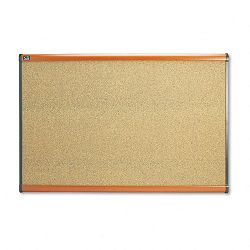 "Prestige Bulletin Board Graphite-Blend Cork 36"" x 24"" Cherry Frame (QRTB243LC)"