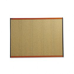 "Prestige Bulletin Board Graphite-Blend Cork 48"" x 36"" Cherry Frame (QRTB244LC)"