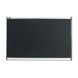 "Embossed Bulletin Board Hi-Density Foam 36"" x 24"" Black Aluminum Frame (QRTB343A)"