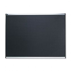 "Embossed Bulletin Board Hi-Density Foam 48"" x 36"" Black Aluminum Frame (QRTB344A)"