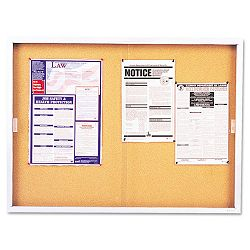 "Enclosed Bulletin Board Cork Over Fiberboard 72"" x 48"" Aluminum Frame (QRTD2405)"