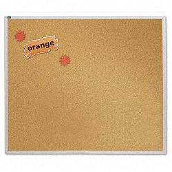 "Natural Cork Bulletin Board 48"" x 48"" Anodized Aluminum Frame (QRTECKA404)"
