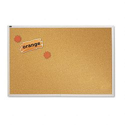 "Natural Cork Bulletin Board 72"" x 48"" Anodized Aluminum Frame (QRTECKA406)"