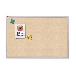 "Vinyl Tack Bulletin Board 96"" x 48"" Antique White Anodized Aluminum Frame (QRTVTA408W)"