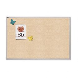 "Vinyl Tack Bulletin Board 120"" x 48"" Antique White Anodized Aluminum Frame (QRTVTA410W)"