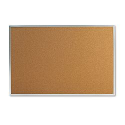"Bulletin Board Natural Cork 36"" x 24"" Satin-Finished Aluminum Frame (UNV43613)"