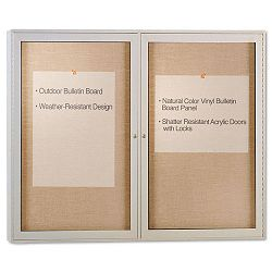 "Enclosed Outdoor Bulletin Board 48"" x 36"" Satin Finish (GHEPA23648VX181)"
