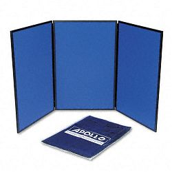 ShowIt Three-Panel Display System Fabric BlueGray Black PVC Frame (QRTSB93513Q)