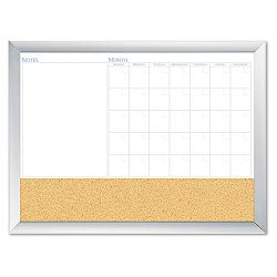 "Magnetic Dry Erase 3-N-1 Board Cork Area 36"" x 24"" White with Silver Frame (BDU17001BDUA)"