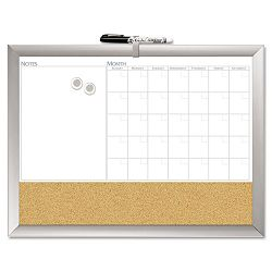 "Magnetic Dry Erase 3-N-1 Board Cork Area 24"" x 18"" White with Silver Frame (BDU17004BDUA)"