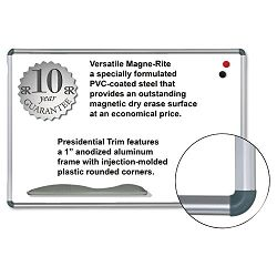 "Magne-Rite Magnetic Dry Erase Board 36"" x 24"" White Silver Frame (BLT219PB)"