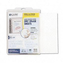 "Self-Stick Dry Erase Sheets 8 12"" x 11"" White 25 SheetsBox (CLI57911)"