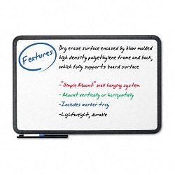 "Ingenuity Dry Erase Board Resin Frame with Tray 36"" x 24"" Black (ICE37031)"