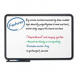 "Ingenuity Dry Erase Board Resin Frame with Tray 66"" x 42"" Black (ICE37061)"