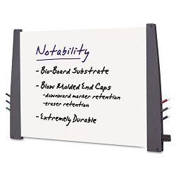 "Notability Dry Erase Board Resin End Caps 48"" x 36"" Charcoal Finish (ICE37547)"
