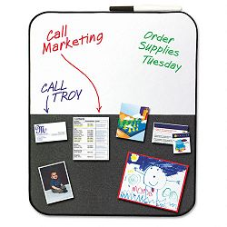 "Self-StickDry Erase Combination Board 22"" x 18"" GrayWhite Black Frame (MMM558CBS)"